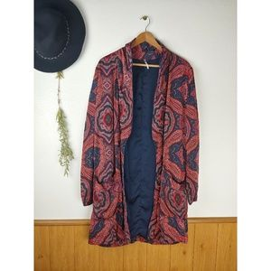 Free People Sensual Printed Paisley Robe Jacket